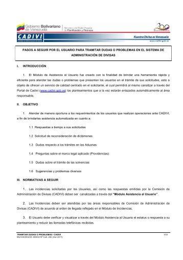 Instructivo para Tramitar Dudas o Problemas - Cadivi