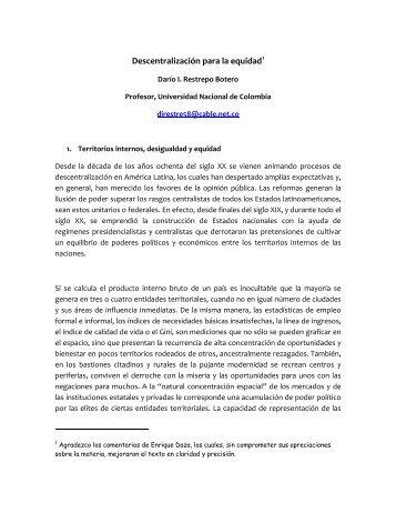 Descentralización para la equidad - guía del viajero de Colombia