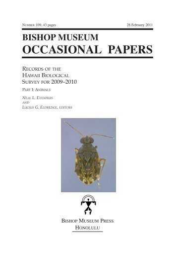 OCCASIONAL PAPERS - Hawaii Biological Survey - Bishop Museum