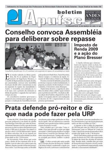 Conselho convoca Assembléia para deliberar ... - Apufsc-Sindical