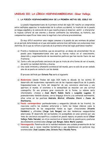 UNIDAD III: LA LÍRICA HISPANOAMERICANA: César Vallejo.