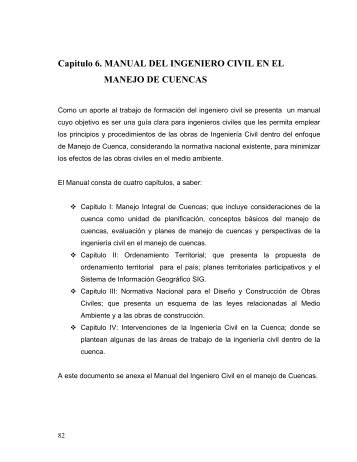 Manual del Ingeniero Civil en el Manejo de Cuencas