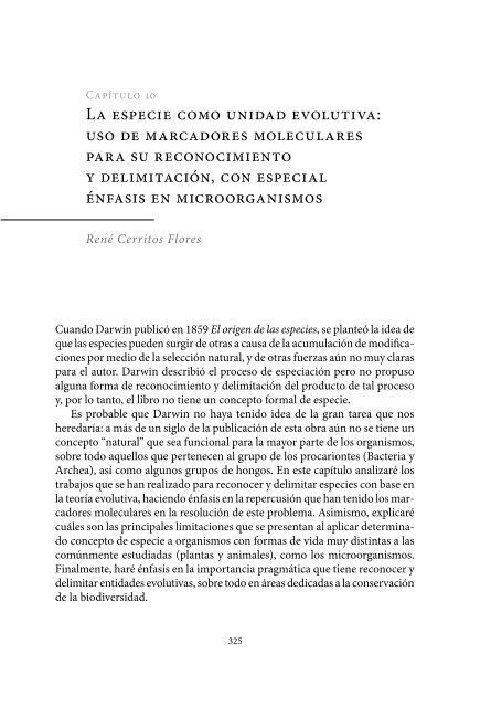 La especie como unidad evolutiva: uso de marcadores moleculares ...
