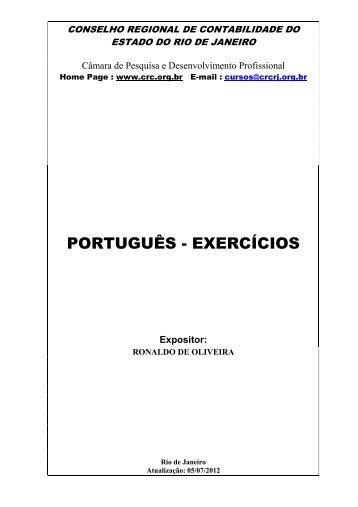 PORTUGUÊS - EXERCÍCIOS - CRC-RJ