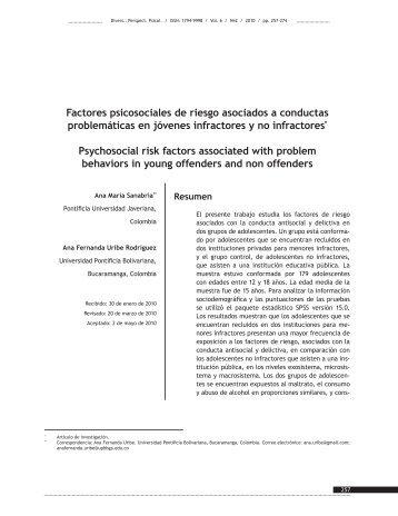 Factores psicosociales de riesgo asociados a conductas ...