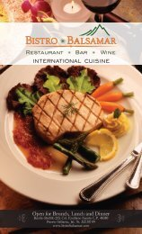 View the Dinner Menu here! (pdf with three pages). - Bistro Balsamar