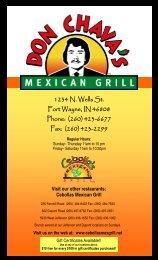 Don Chava's Menu - Cebolla's Mexican Grill