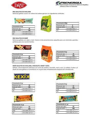 Catalogo galletas PSenergia- Dru