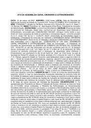 Ata da Assembléia Geral Ordinária e Extraordinária - Agência de ...