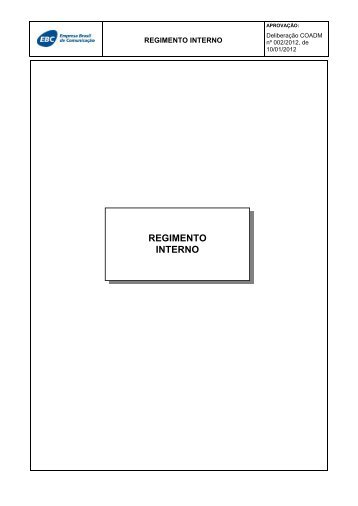 REGIMENTO INTERNO - EBC - Empresa Brasil de Comunicação