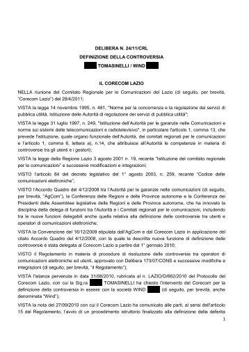 1 DELIBERA N. 24/11/CRL DEFINIZIONE DELLA ... - Corecom Lazio