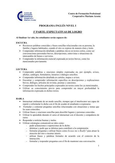 Programa De Ingles Nivel I Cooperativa Mariano Acosta