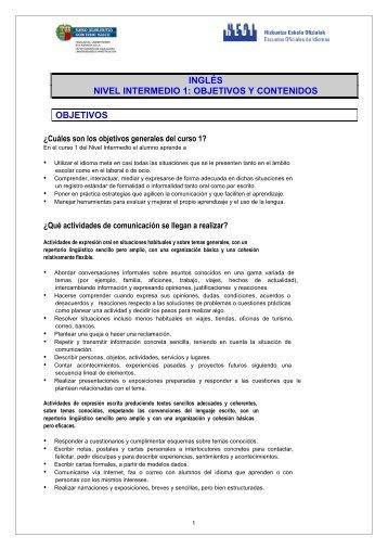 inglés nivel intermedio 1 - Escuelas Oficiales de Idiomas del País ...