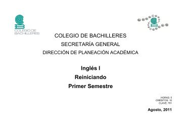 Inglés I Reiniciando Primer Semestre - Colegio de Bachilleres
