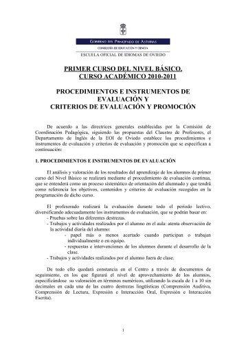 PRIMER CURSO DEL NIVEL BÁSICO - Escuela Oficial de Idiomas ...