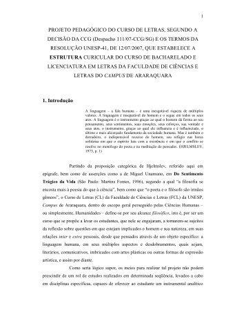Projeto Político Pedagógico do Curso de Letras - Unesp
