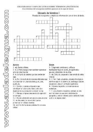 CRUCIGRAMAS Y SOPA DE LETRAS SOBRE ... - Aula de Lengua