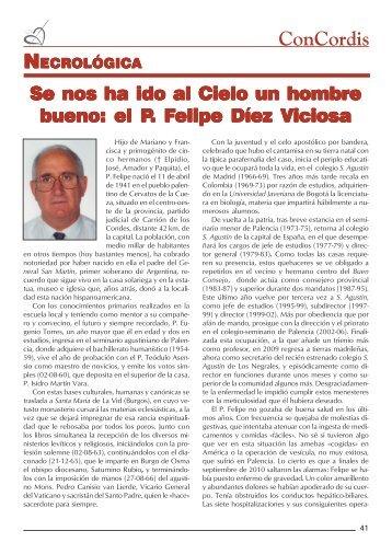 P.Felipe Díez Viciosa. - Provincia de España, Orden de San Agustín