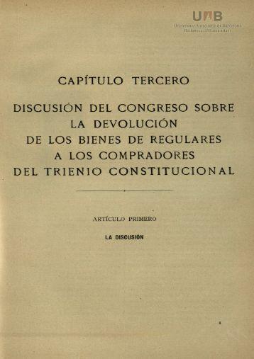 capítulo tercero discusión del congreso sobre la devolución de los ...
