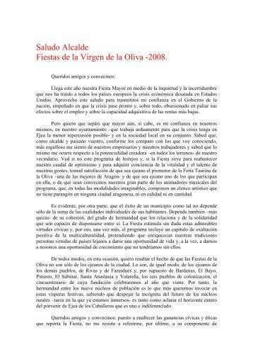 Saludo Alcalde Fiestas de la Virgen de la Oliva -2008. - Ejea Digital