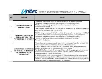 convenios que ofrecen descuentos en el valor de - UNITEC