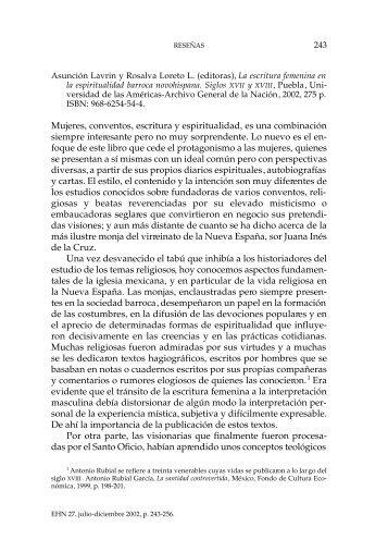 Mujeres, conventos, escritura y espiritualidad, es ... - E-journal - UNAM