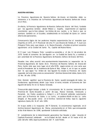 NUESTRA HISTORIA La Provincia Agustiniana de ... - Agustinos