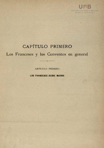CAPÍTULO PRIMERO Los Franceses y los Conventos en general
