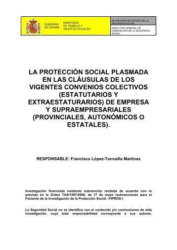 la protección social plasmada en las cláusulas de - Seguridad Social