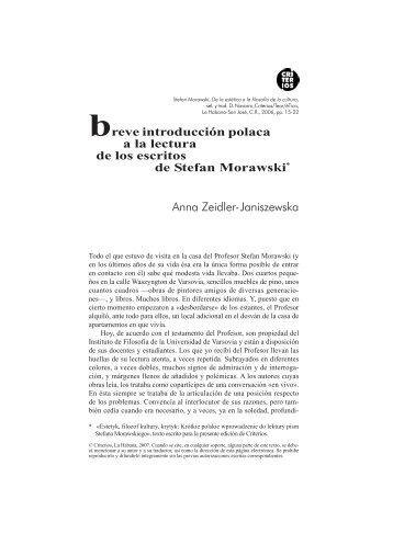 Breve introducción polaca a los escritos de Stefan Morawski - Criterios