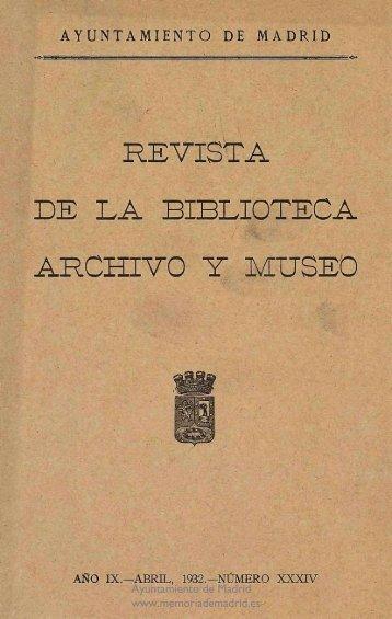 Revista de la Biblioteca, Archivo y Museo (1932) - Memoria de Madrid