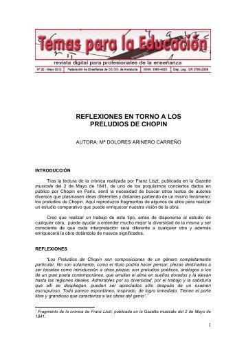 REFLEXIONES EN TORNO A LOS PRELUDIOS DE CHOPIN - CCOO