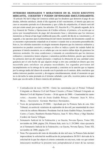 intereses ordinarios y moratorios en el juicio ejecutivo mercantil ...