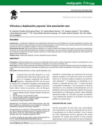 Vólvulus y duplicación yeyunal. Una asociación rara - edigraphic.com