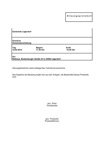 S i t z u n g s p r o t o k o l l Gemeinde Lägerdorf ... - Amt Breitenburg