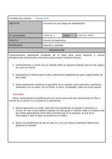FICHERO DE JUEGOS. BADMINTON OBJETIVO Iniciación en los ...