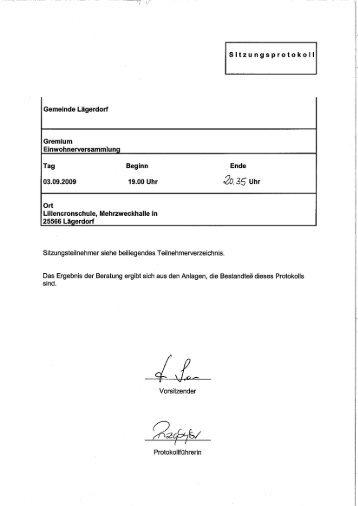 Protokoll Einwohnerversammlung 03.09.2009 - Amt Breitenburg