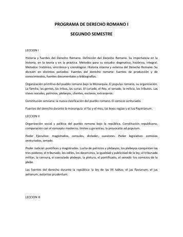PROGRAMA DE DERECHO ROMANO I SEGUNDO SEMESTRE