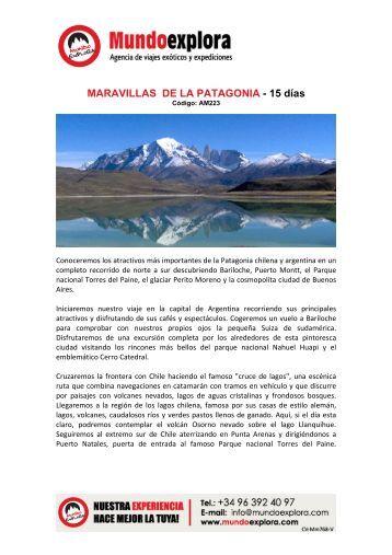 MARAVILLAS DE LA PATAGONIA - 15 días - Mundoexplora