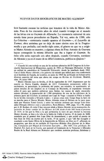 Actas II. AIH. Nuevos datos biográficos de Mateo Alemán. GERMÁN ...