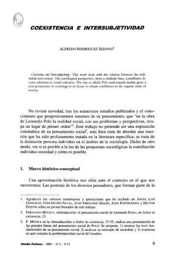 COEXISTENCIA E INTERSUBJETIVIDAD - Universidad de Navarra
