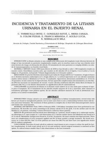 INCIDENCIA Y TRATAMIENTO DE LA LITIASIS URINARIA EN EL ...