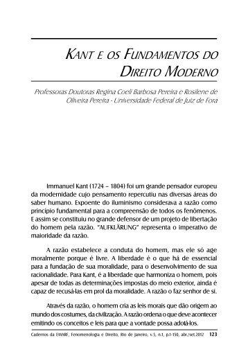 KAnt e oS FunDAmentoS Do Direito moDerno - IFCS