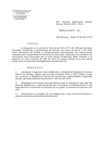 Ref.: Aprueba Reglamento Escolar Interno. Período 2012 – 2013 ...