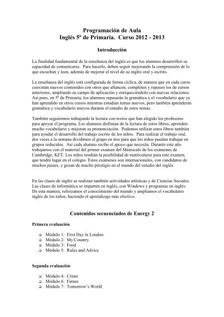 Programación De Aula P5 Colegio Mirabal