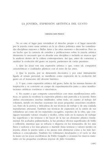 32. La joyería, expresión artística del gusto, por Carolina Naya Franco