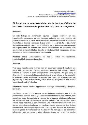 El Papel de la Intertextualidad en la Lectura Crítica de un Texto ...
