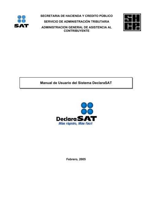 Manual De Usuario Del Sistema Declarasat Si Fiscal