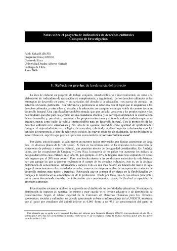 Notas sobre el proyecto de indicadores de derechos culturales ...