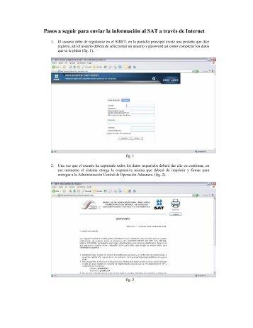 Pasos a seguir para enviar la información al SAT a través de Internet